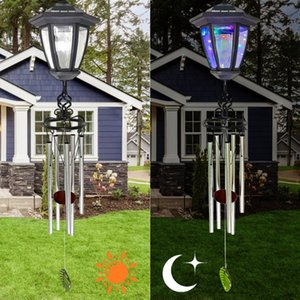 Solar Hanging Windchime Light LED Waterproof Aluminum Tube Pendant Wind Chime Bell Lamp Outdoor Garden Decor Wall Lamps