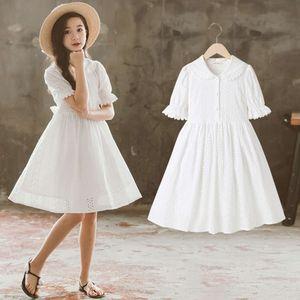 2021 spring dress new Zhongda white baby collar princess Children's skirt pure cotton