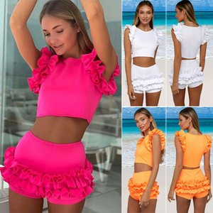 New Sexy Solid Bikini Sport Women Swimwear 2021 Swimsuit 2pcs Ruffle Padded Bathing Suit Tankini Set Female Casual Beachwear