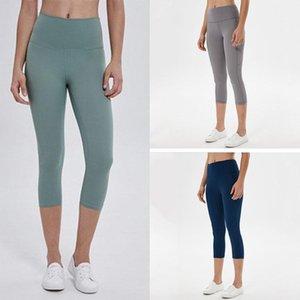 lulu moldando leggings de secagem rápida terno calças colhidas alinhadas alinhadas esportes lu yoga mulheres sem costura mid-bezerro levantamento quadris gym wear elastic fitnes