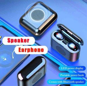 Новый F9 Мини Беспроводной Bluetooth Динамик Наушники Наушники Уэрт Сенсорные Спортивные Стерео Беспроводная гарнитура 9D Объединенный звук с большой батареей