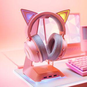 Headphones & Earphones Original Razer KRAKEN Kitty Edition Crystal Pink Gaming Headphone Girl Cat Ear RBG Chroma Light USB Wired Music Game