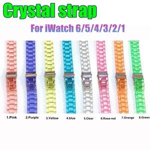 Sangle intelligente pour la montre Apple Acrylique Bandes de remplacement en boucle de cristal transparent 38 / 40mm 42 / 44mm Bracelet Accessoires Costume IWatch 04/5/4/3/2/1