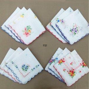 Handkerchief Floral Floral Moda Bordada Mulheres Handkerchief Flor Lady Lady Hankies Mini Squarescarf Boutique Bolso Toalha EWC6853