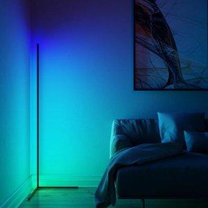 Nordic RGB Corner Floor Lamp Modern Simple LED Rod Lamps For Living Room Bedroom Atmosphere Standing Indoor Light Fixtures