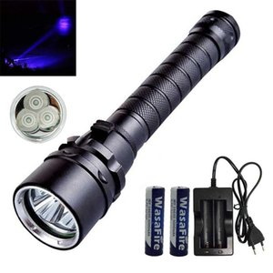 Diving Flash Light UV Torch Waterproof Ultraviolet 3 LED Purple Underwater 50m Dive Lamp+18650 Battery+Charger Flashlights Torche Torches