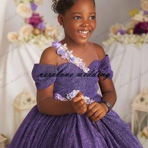 Princess Sequins Flower Girl Dress Off the Shoulder Lavender Formal Party Dresses Kids A Line Prom Communion Wear