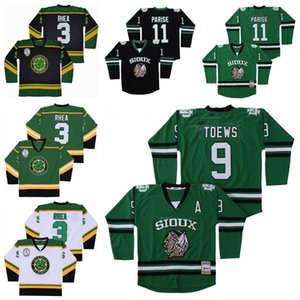 College North Dakota Fighting Sioux Jersey 9 Jonathan Toews 11 Zach Parise Hockey Ross The Boss Rhea 3 St John's Shamrocks Green Black