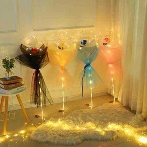 الصمام بالون مضيئة روز باقة الهيليوم بالونات شفافة حفل زفاف عيد 2221 سعيد السنة الجديدة عيد الميلاد الحلي 324 R2