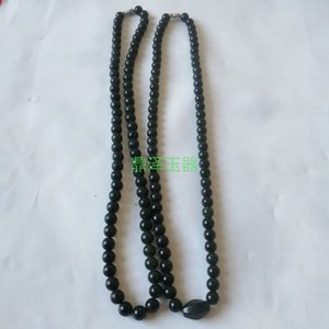 necklace Xinjiang dark green bead necklace live magnetic Jade serpentine men's and women's Pendant