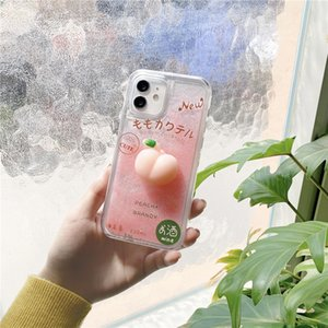Cute 3D Peache Dynamic Liquid Quicksand Phone Cases For iPhone 12 11 Pro Max Xs 7 8 Plus Xr X SE Glitter TPU+PC Cover