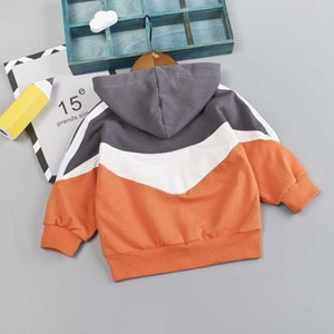 Hoodie Children's Baby Boy Clothes Autumn Long-Sleeved Color-Blocking Sweatshirt Casual Tops 1-3 Years Old G0917