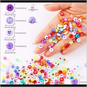 Acrylic, Plastic, Lucite Loose Jewelrykimter Colorful Letter Beads Cube Round Acrylic Bead Jewelry Making For Bracelets Necklaces 1300Pcs Di