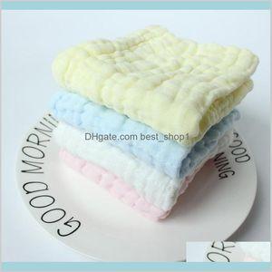 Baby Handkerchief 6 Layers Square Bibs Face Towel Muslin Cotton Infant Wipe Cloth Born Pure Color Saliva Towels M2518 K Cjaul