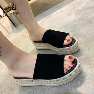 Summer Fashion Rope Braided Rhinestone Bordered Thick Bottom Slippers Casual Wild Simple Sandals Women