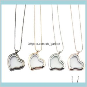 Lockets Necklaces & Jewelrydiy Love Heart Glass Frames Float Locket Necklace Pendants Fashion Jewelry For Women Gift Gold 160794 Drop Delive