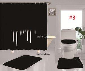Tide Letters Toilet Seat Covers Bath Shower Curtains Set Non Slip Toilet Mats Fashion Bathroom Accessories Home Decor j