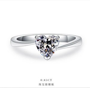 Cluster Rings 1Ct Heart Shape Fancy Women Ring Solid 925 Sterling Silver Engagement White Gold Color Romantic Prmoise