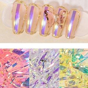 Pegatina de papel de vidrio de Aurora 3D para la decoración del arte de las uñas DIY Stripe Line Calcomanías