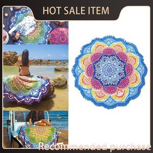 Yoga Indian Beach 150cm Tapestry Toalla Towel Cover-Up Round Bikini Blanket Mandala Lotus Sunblock Bohemian Mat Tassel Cpgrv