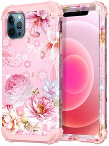 Pink Floral Case for iPhone 12 Pro 6.1Flower Design Heavy Duty Shockproof Full Protective High Impact Hybrid Defend Sturdy Phone Cover