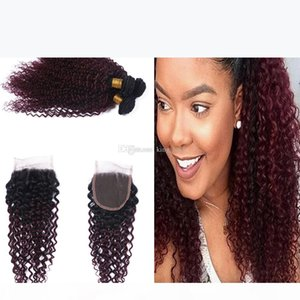 Dark Roots 1B 99J Kinky Curly Hair Weaves With Lace Closure Ombre Color Red Wine 99j Curly Hair 3bundles With 4x4 Closure