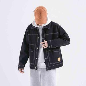 Men Denim Jacket Streetwear Hip Hop Men's Jean Jackets Male Casual Loose Outerwear Turn-down Collar Long Sleeve Bomber