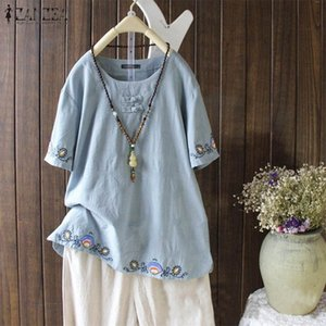 ZANZEA 2020 Kafant Embroidery Tops Women's Casual Blouse Short Sleeve Blusas Female Button Tunic Plus Size Summer Chemise 5XL T3oV#