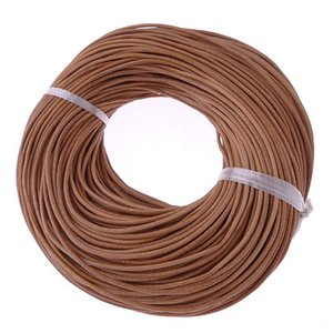 10Meter 2mm Natural Color Real Genuine Leather Cord Round Rope String for DIY Necklace Bracelet Jewelry Cord Braided Handmade