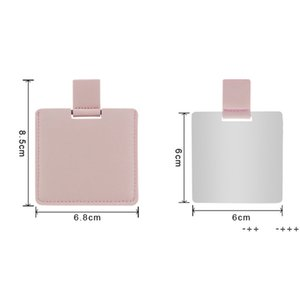 Sublimation Blank PU Leather Makeup Mirror Outdoor Portable Square Heat Transfer Mini Mirrors DIY Gift FWA8871