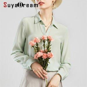 SuyaDream Mujeres Silk Blusas 100% Real Sileda Sólido Manguito de manga larga Botón Básico Oficina Blusa Camisa elegante camisa 210323