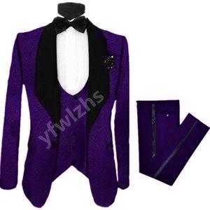 Customize tuxedo Embossing Handsome Shawl Lapel Groom Tuxedos Men Suits Wedding Prom Dinner Man Blazer(Jacket+Pants+Tie+Vest) W992