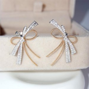 Sweet Cut Brand Luxury Jewelry 925 Sterling Silver Pave White Sapphire CZ Diamond Gemstones Party Women Wedding Bow Stud Earring For Lovers' Gift