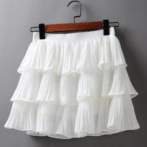 Skirts Elastic Waist Pleated Chiffon Mini Skirt Ladies Casual Cake-Layer Ruffles Frill Womens Summer White Femme Lolita