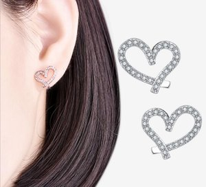 Designer Love Heart with Crystal 18K Gold Plated Earings Shining Diamond for Women White Zircon Earrings Drop 519R 0O02