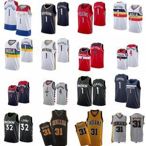 Mens Zion 1 Williamson Basquetebol Jersey Russell 4 Westbrook Anthony Edwards Karl-Anthony 32 Cidades Reggie 31 Miller Camisa