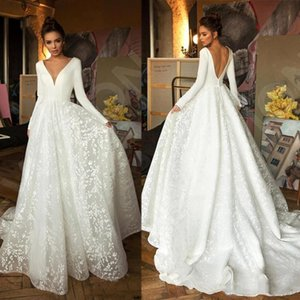 Berta Long Sleeves A Line Beach Bohemian Wedding Gowns Vintage V Neck Backless Plus Size Boho Bridal Gown