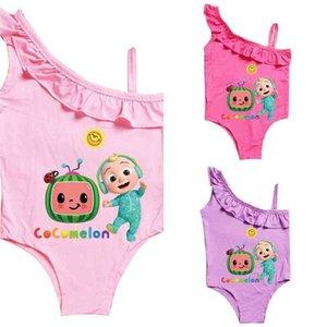 Children's Bikinis CocoMelon Baby Girls One-piece Swimsuit Summer Cartoon Bathing Suits Beach Ruffle Swimwear Children Beachwear G4YHBQY