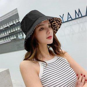 Кореи моды леопардовые ковши шляпа женские летние пляж открытый солнцезащитный крем Панама шляпы рыболовные шапки Capeau Sun предотвратить широкий краев