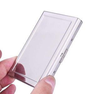 Card Holders Stainless Steel Metal Box 6 Slots Cover Men Women Fashion Holder Wallet Coin Storage Case Bag
