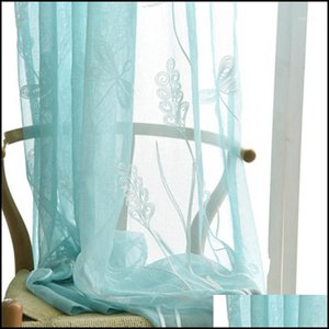 Garden Curtain & Drapes Deco El Supplies Home Embroidered Screening Cloth Yarn Printing Window Rope Curtains Office Perspective French Voile