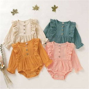 Autumn Newborn Infant Baby Girls Infant Long Sleeve Rompers Pleated Button Jumpsuit Cotton Linen Girls Clothes Outfits