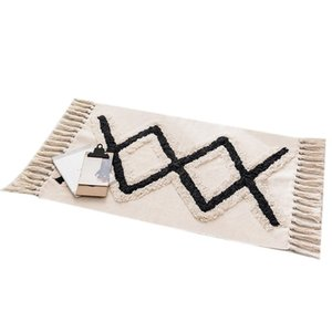 Carpets Tufted Ethnic Wind Mat Black Diamond Cotton Doormat Bedroom Bedside Footrest Living Room Coffee Table Floor