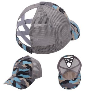 Summer Designers Mesh Ball Hat Femmes Girls Croix Croix Poney Lande Baseball Casquettes Camouflage Camo Camo Sports Visière Casquette en plein air GWF6485