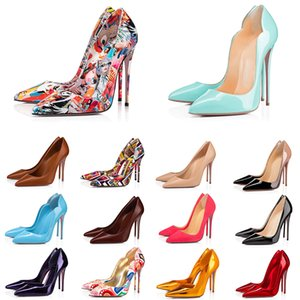 red bottom high heels designer luxury women dress shoes triple black nude yellow Mint Green pink spikes Pointed Toes Pumps platform womens party wedding