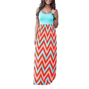Women Summer Beach Boho Maxi Dress High Quality Brand Striped Print Long Dresses Feminine Plus Size S-XXL Women Clothes