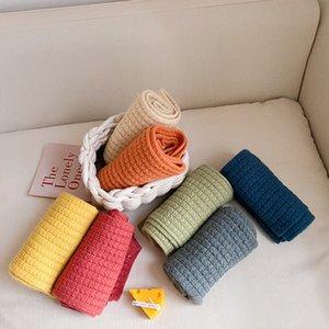 Écharpe sauvage de couleur de couleur de couleur d'hiver coréen pour les garçons et filles, écharpe de couleur pure et chaude pour garçons et filles