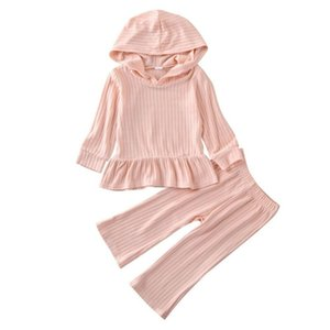 1-6Y Toddler Kids Baby Girl Outfit Clothes Sets Solid Pullover Hooded Top Shirt Pants Trousers Clothes Set