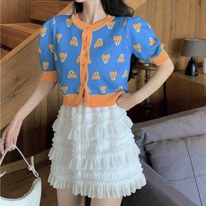 Корейский мода сладкий хит цвет медведь свитер верхняя + белая высокая талия сетки складки складки юбка костюмы ансамблей Femme женщин два частей набор 210602