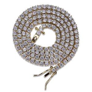 Hip Hop 3mm 16-24inches Cubic Zircon Gold Silver 1 Row Micro Pave CZ Tennis Chain Necklace Copper Jewelry Drop Shipping